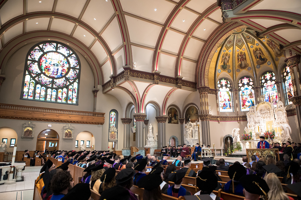 Academic convocation in St. Vincent de Paul church
