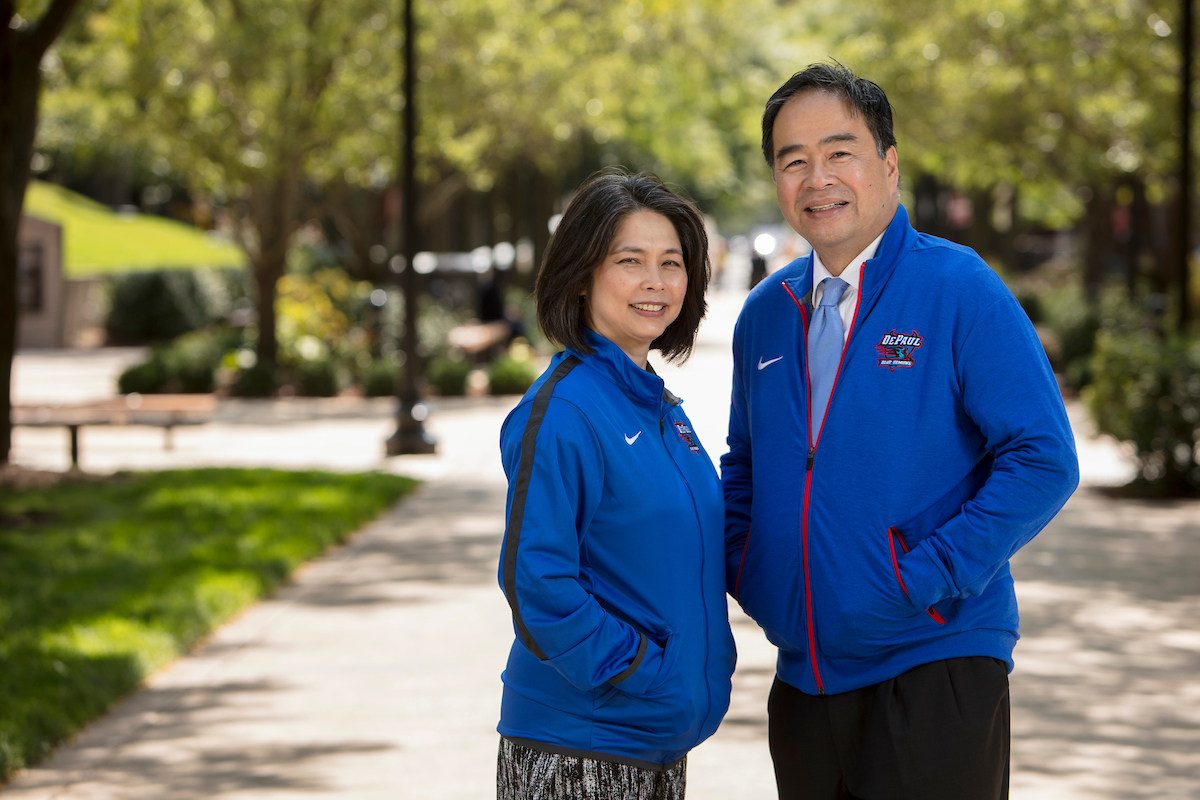 DePaul President A. Gabriel Esteban, Ph.D., is seen with his wife, Josephine