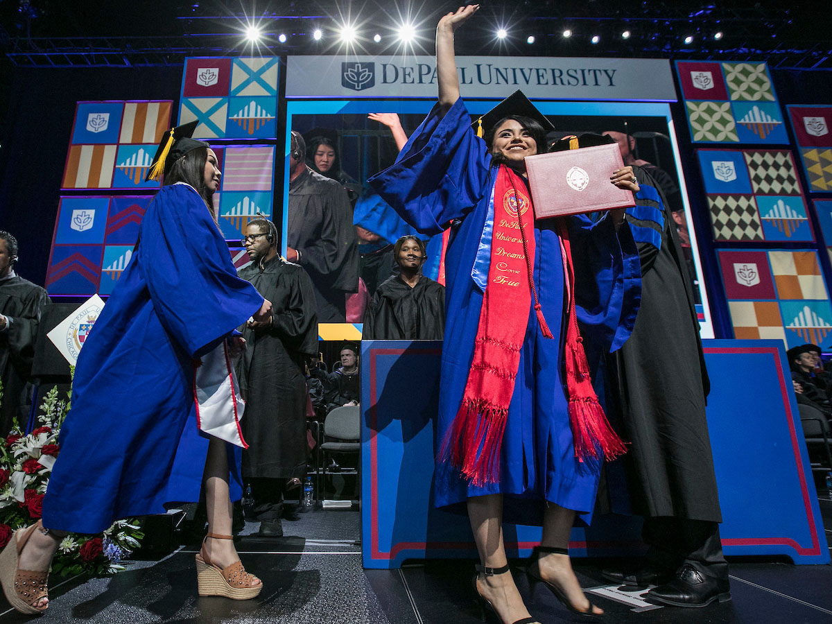 DePaul graduate at commencement