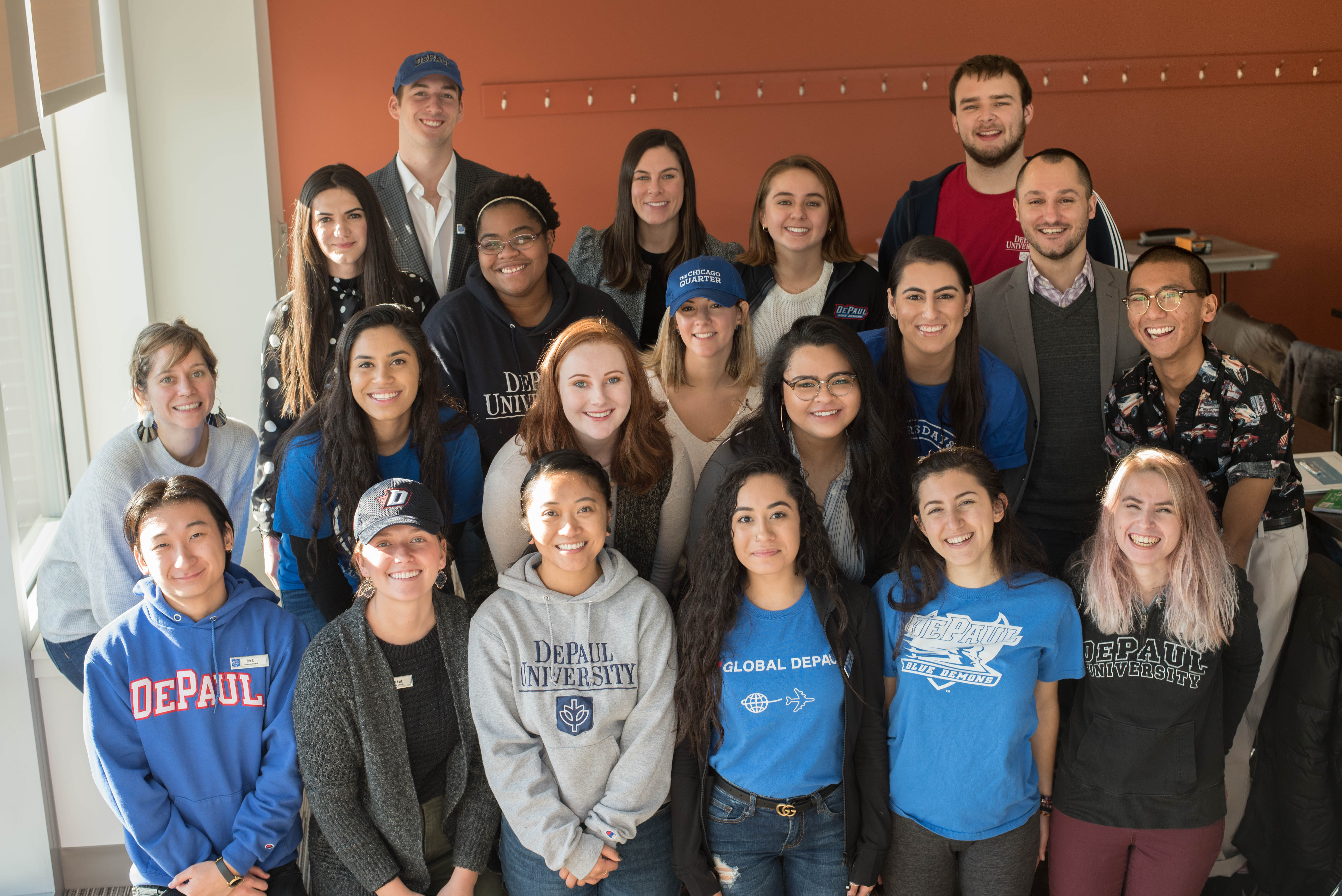 Upper-level students (some pictured above) gathered at the beginning of January for training to become coaches in New Student and Family Engagement's Student Success Coaching program. (DePaul University/Ashlee Schrock)