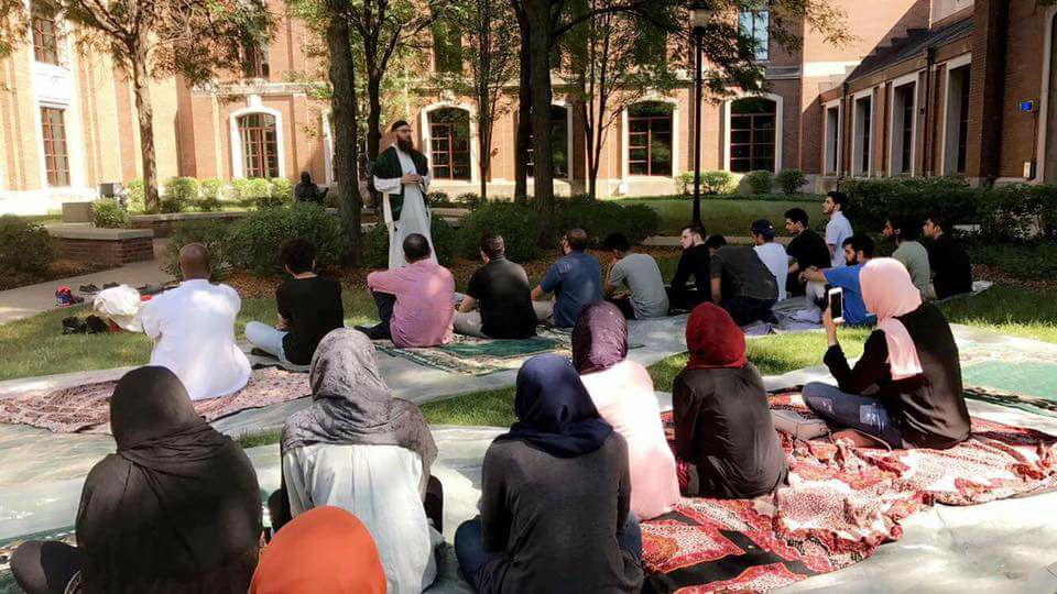 Jumu'ah on the Quad allow Muslims and interfaith guests to observe congregational prayer in St. Vincent's circle.