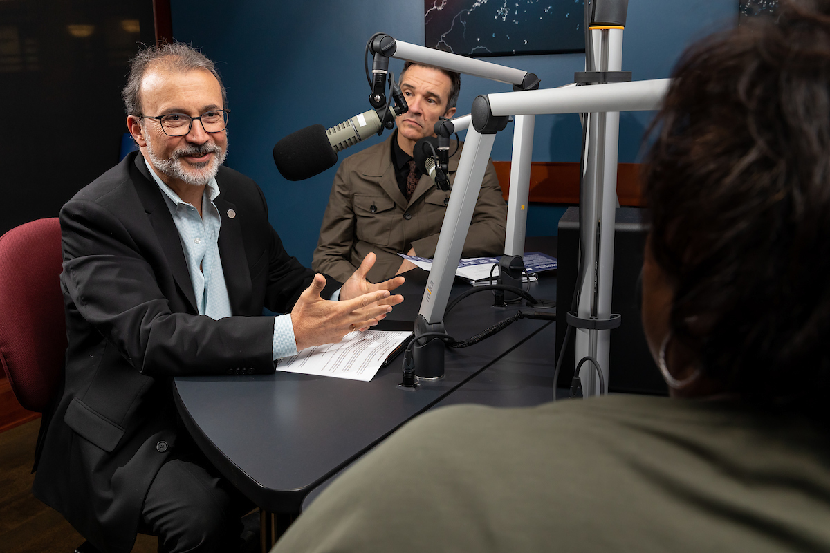 Guillermo Vásquez de Velasco, dean of the College of Liberal Arts and Social Sciences, and David Wellman, director of The Grace School of Applied Diplomacy, record an episode of the DePaul Download podcast.
