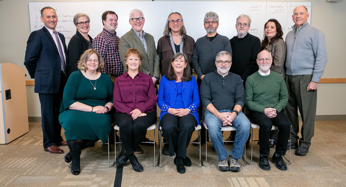 Top row (l-r): Alexander Brown, Lucy Rinehart, Brett Taylor, Nathan DeWitt, Mark Zlotkowski, Bob Palmieri, Vladimir Lepetic, Liliana Fargo, Paul Kessenich; Bottom row (l-r): Heather Little, Peggy St. John, Nancy LaFever, Jack Magaw, Daniel Hayes. (Not pictured: Elisabeth Ward) (Read article for college affiliations and roles.) DePaul University/Randall Spriggs