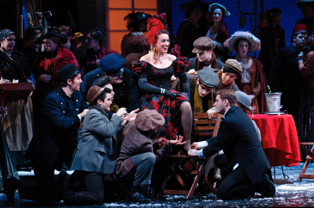 Photo: DePaul Opera Theatre performance of Puccini's La Bohème, March 2013 at the historic Merle Reskin Theatre. (Photo provided by School of Music)