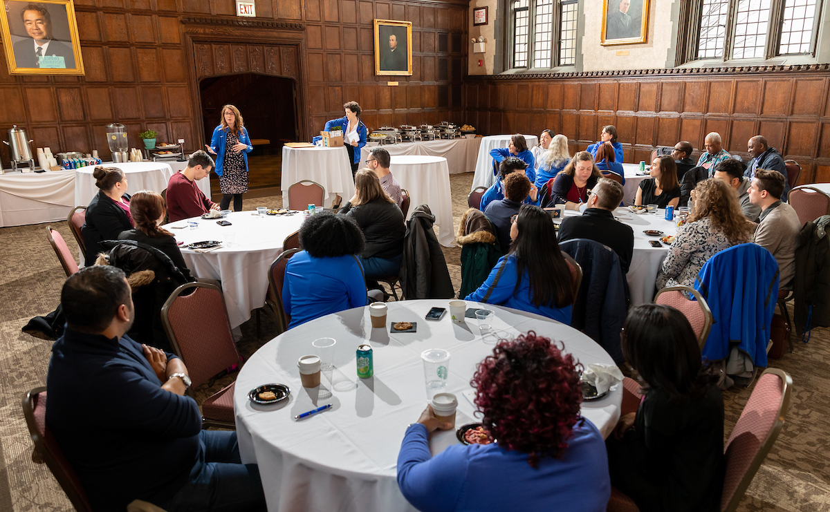 Erin Berkowitz, Staff Council president, hosts a Noontime Networking Lunch in March. (DePaul University/Jeff Carrion)