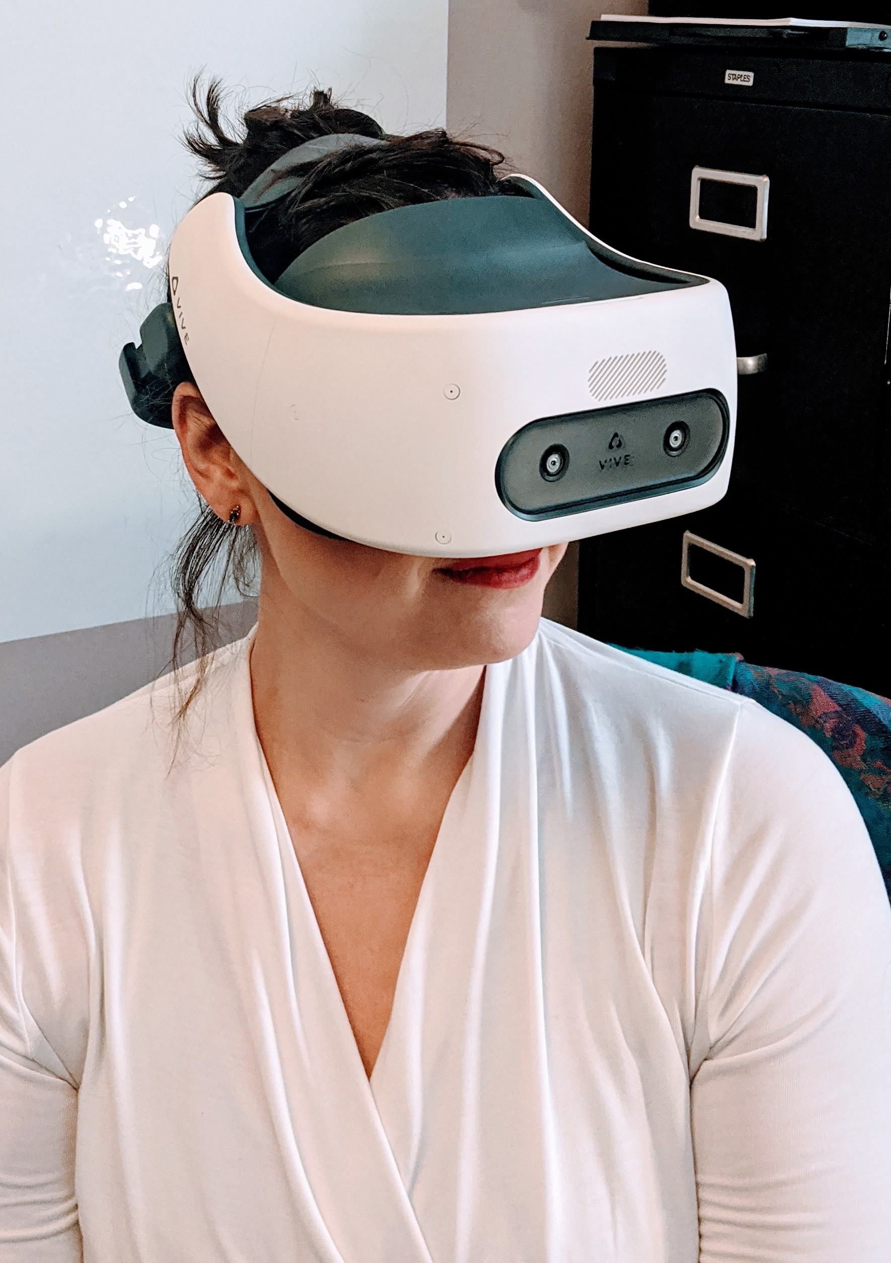 Bree McEwan in VR headset