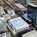 Giant image of Chicago flag spans Wintrust Arena roof