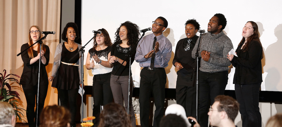 The DePaul Gospel Choir perform an at the annual Rev. Dr. Martin Luther King, Jr. Prayer Breakfast.