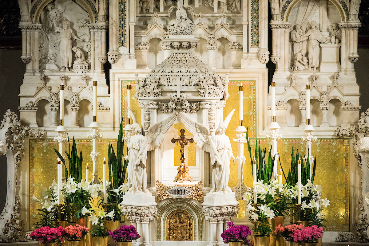 St. Vincent church decorated for Easter