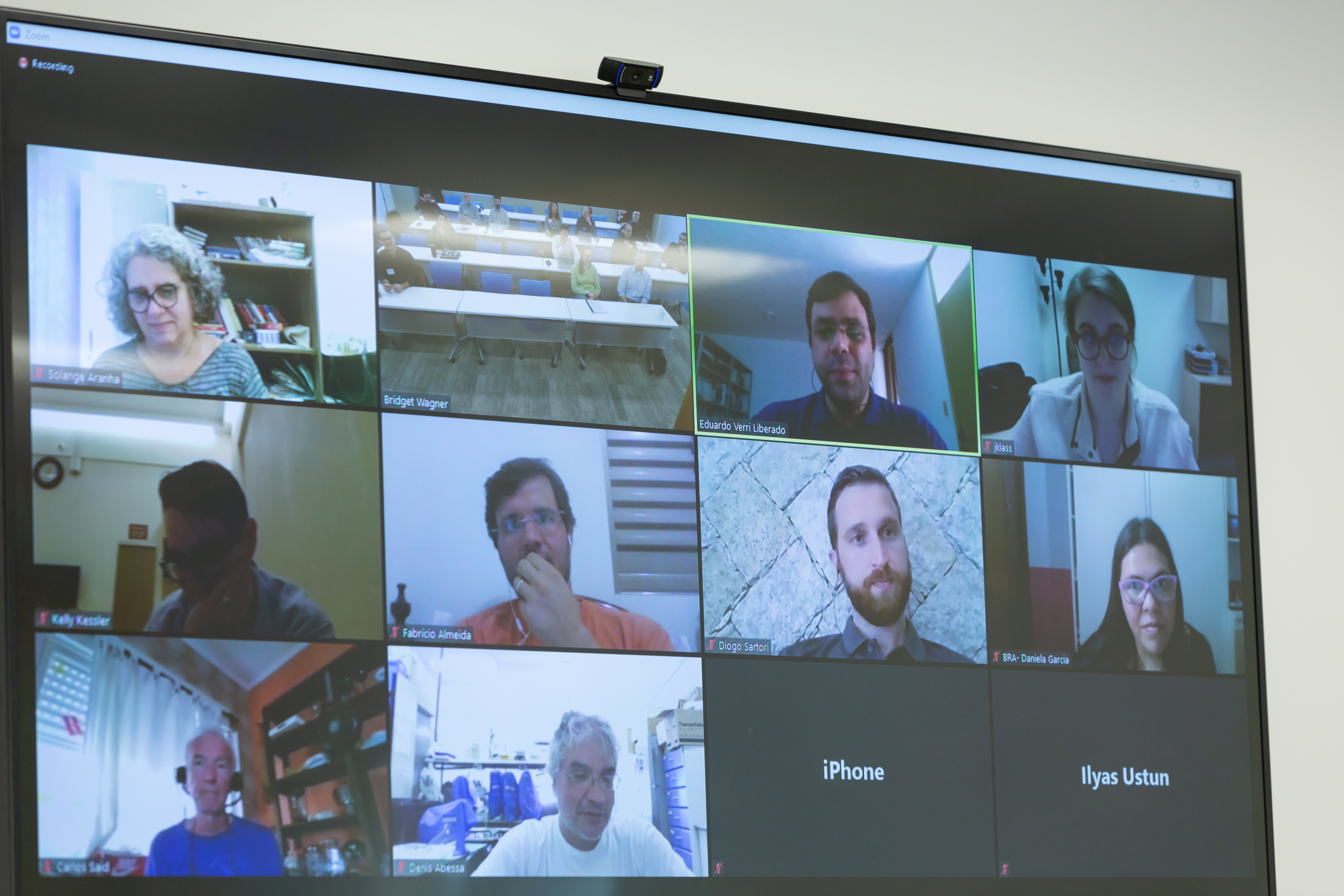 video screen of conference call participants