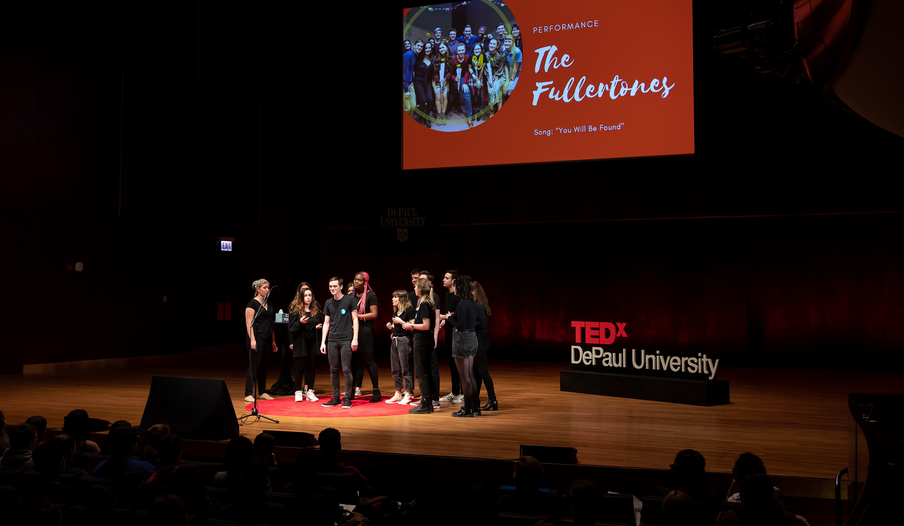 "The Fullertones perform ""You Will Be Found"" from the musical Dear Evan Hansen at the 2019 TEDx event. (Jeff Carrion/DePaul University)"