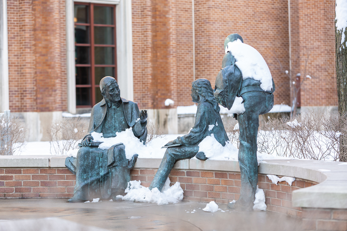 St. Vincent statue covered in snow