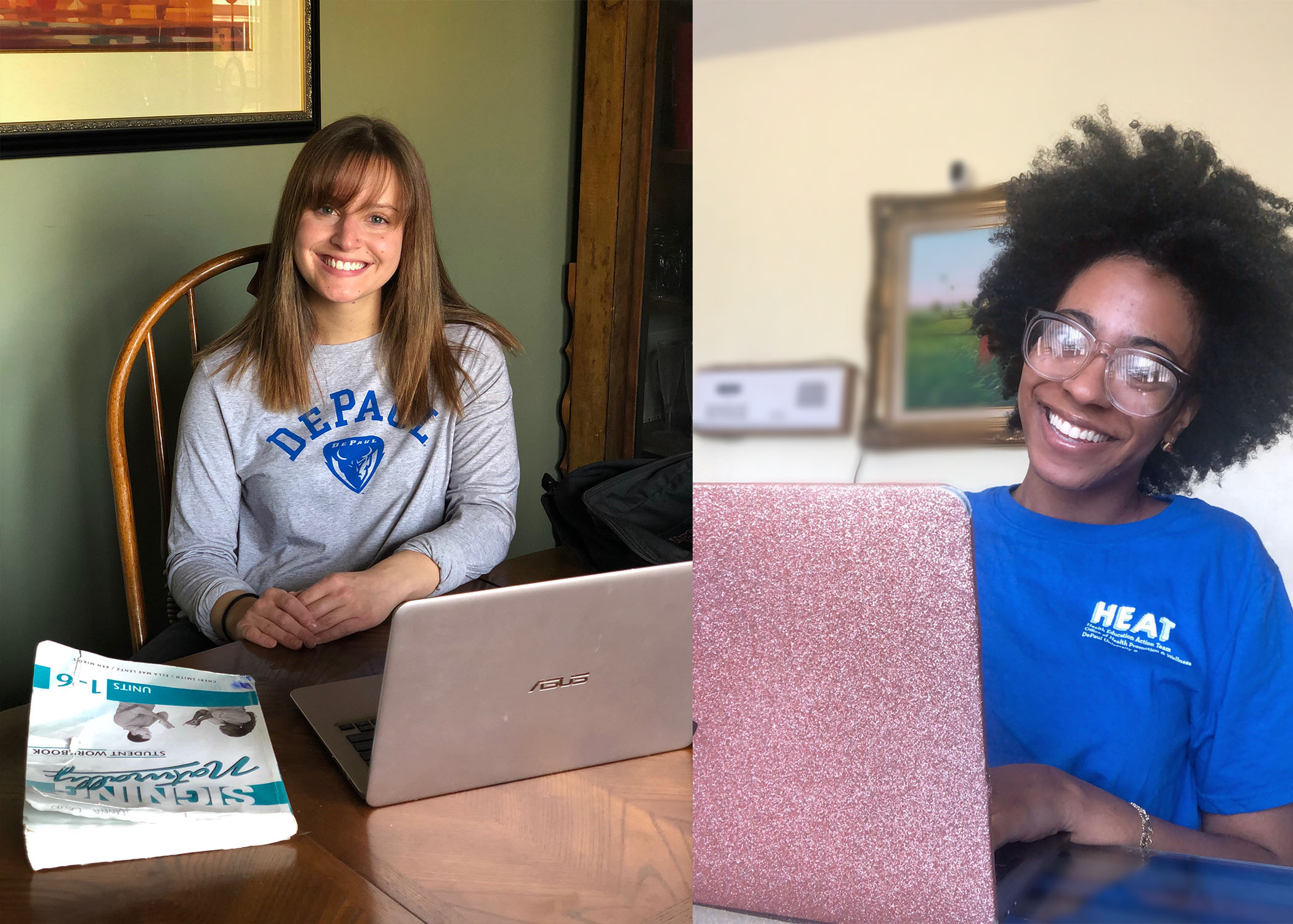 Students Hanna Lavin (left) and Christine Augustin discuss their experience working and learning from home amid COVID-19. (Images courtesy of Hanna Lavin and Christine Augustin)