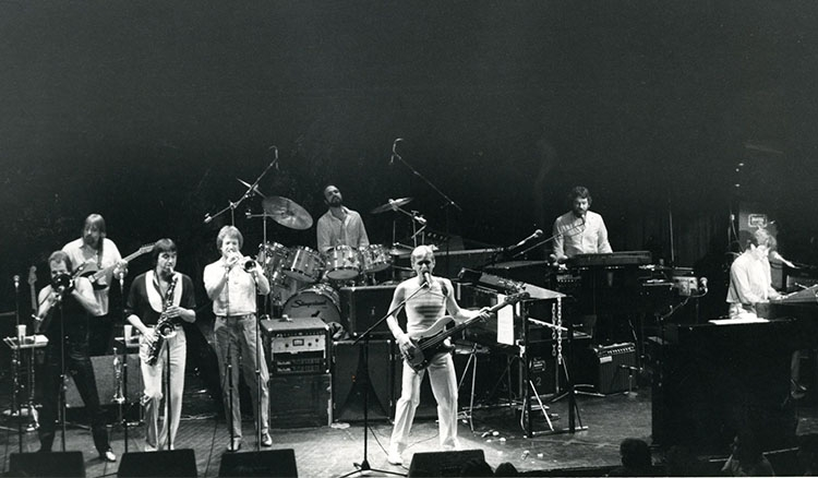 Chicago performs a benefit concert for DePaul at Park West on Aug. 5, 1982. (DePaul University/Special Collections and Archives)