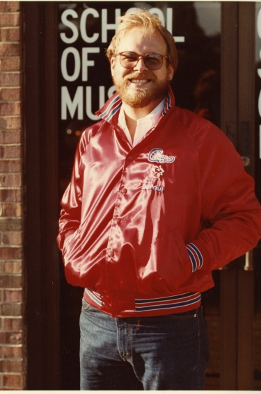 Lee Loughnane outside the School of Music in August 1982. (DePaul University/Special Collections and Archives)