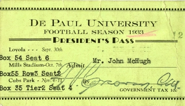 A President's Pass for multiple DePaul football games during the 1933 season. The last game's location is Cubs Park, otherwise known as Wrigley Field. (Image courtesy of Special Collections and Archives)