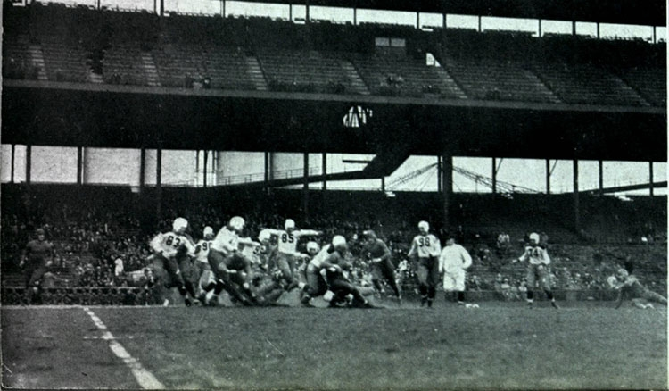The Blue Demon football team walloped South Dakota 20-0 in a 1933 game played at Wrigley Field. (Image courtesy of Special Collections and Archives)