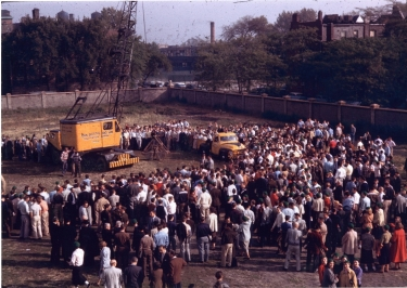 An aerial view of the groundbreaking ceremony on Oct. 3, 1955. (DePaul University/Special Collections and Archives)