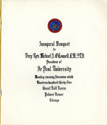 The program for the inaugural banquet of Reverend Michael J. O'Connell. (DePaul University/Special Collections and Archives)