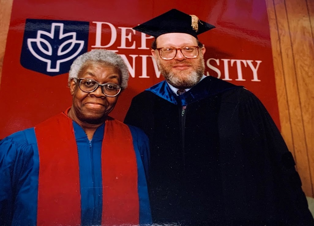 Gwendolyn Brooks with Dean Michael Mezey at the 1994 commencement ceremony.
