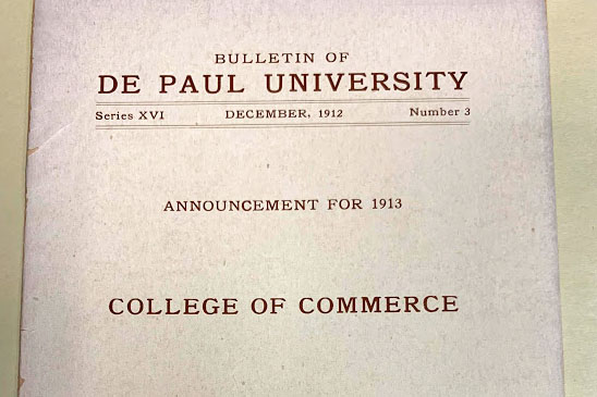 The cover of the first course catalog for the College of Commerce.