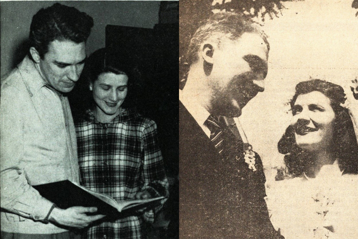 John Ryan and Patricia Minahan discussing the yearbook layout, 1948/John Ryan and Patricia Minahan on their wedding day, May 15, 1949.