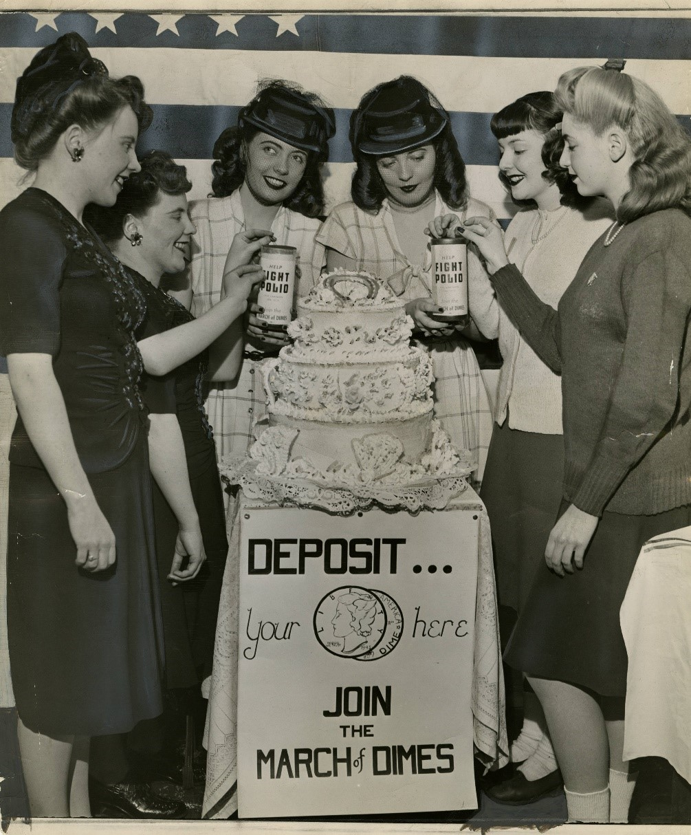 Secretarial students and alumni hold a benefit to fight polio on January 26, 1945.