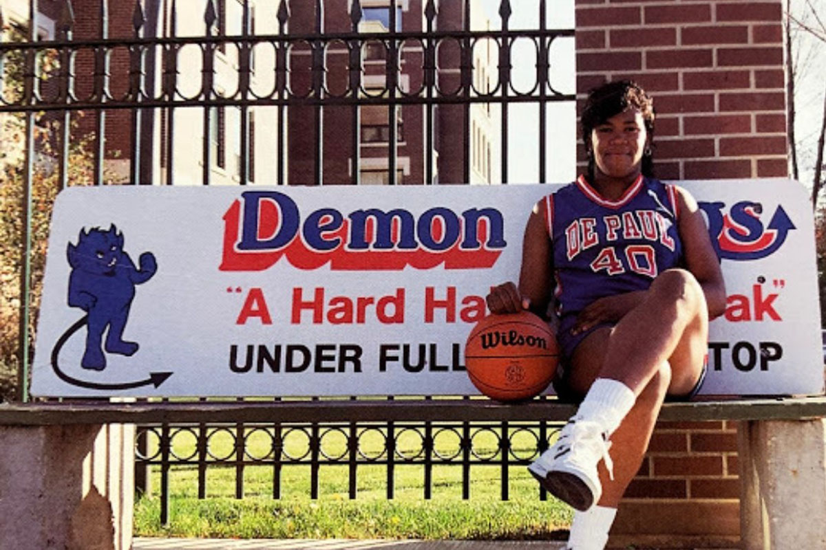 Diana Vines poses for the cover of the media guide for the 1988-89 basketball season.