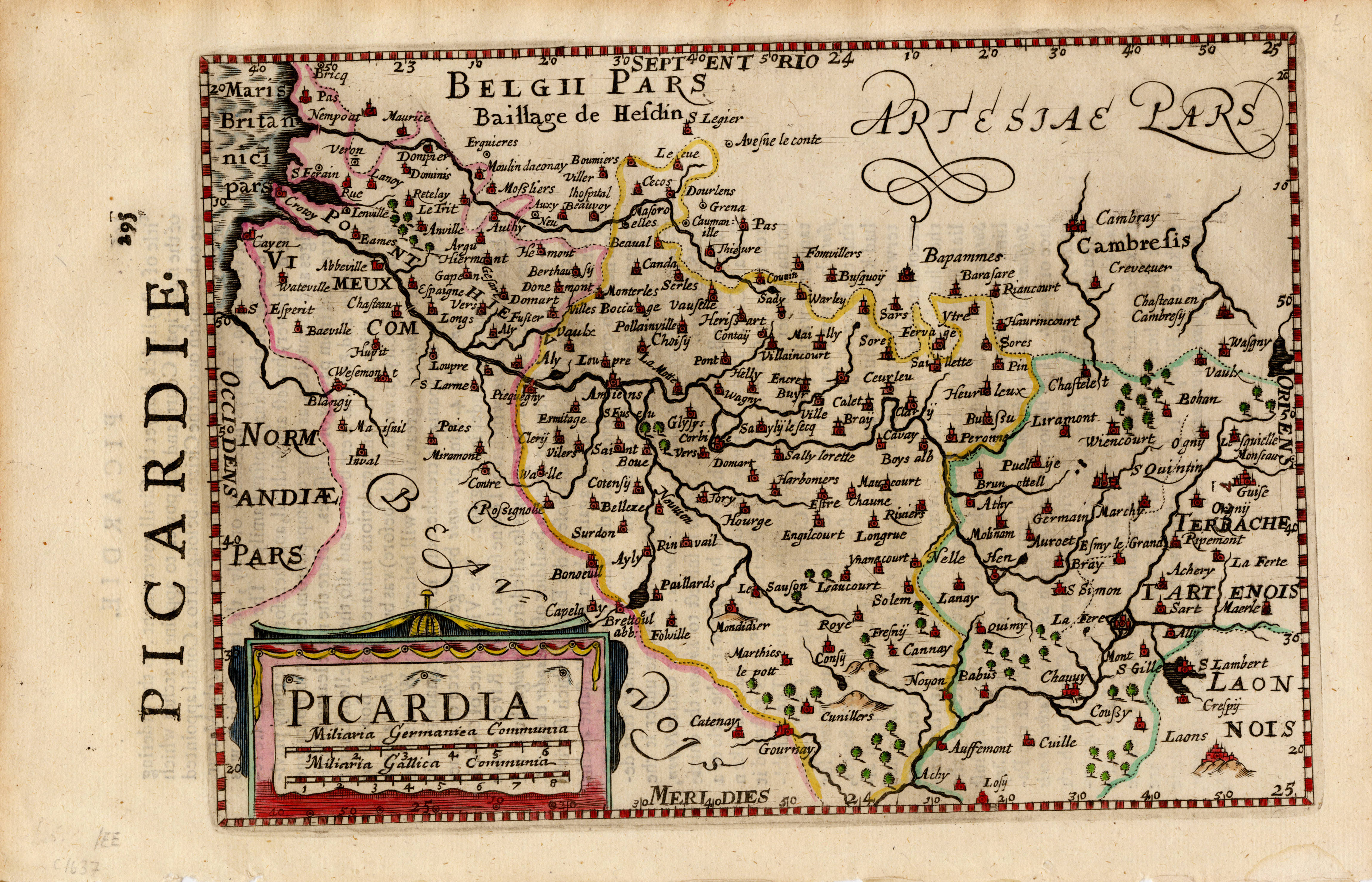 •	Map of Picardie, France, by Gerhard Mercator.  Printed by T. Cotes, for Michael Sparke and Samuel Cartwright, London, 1635.