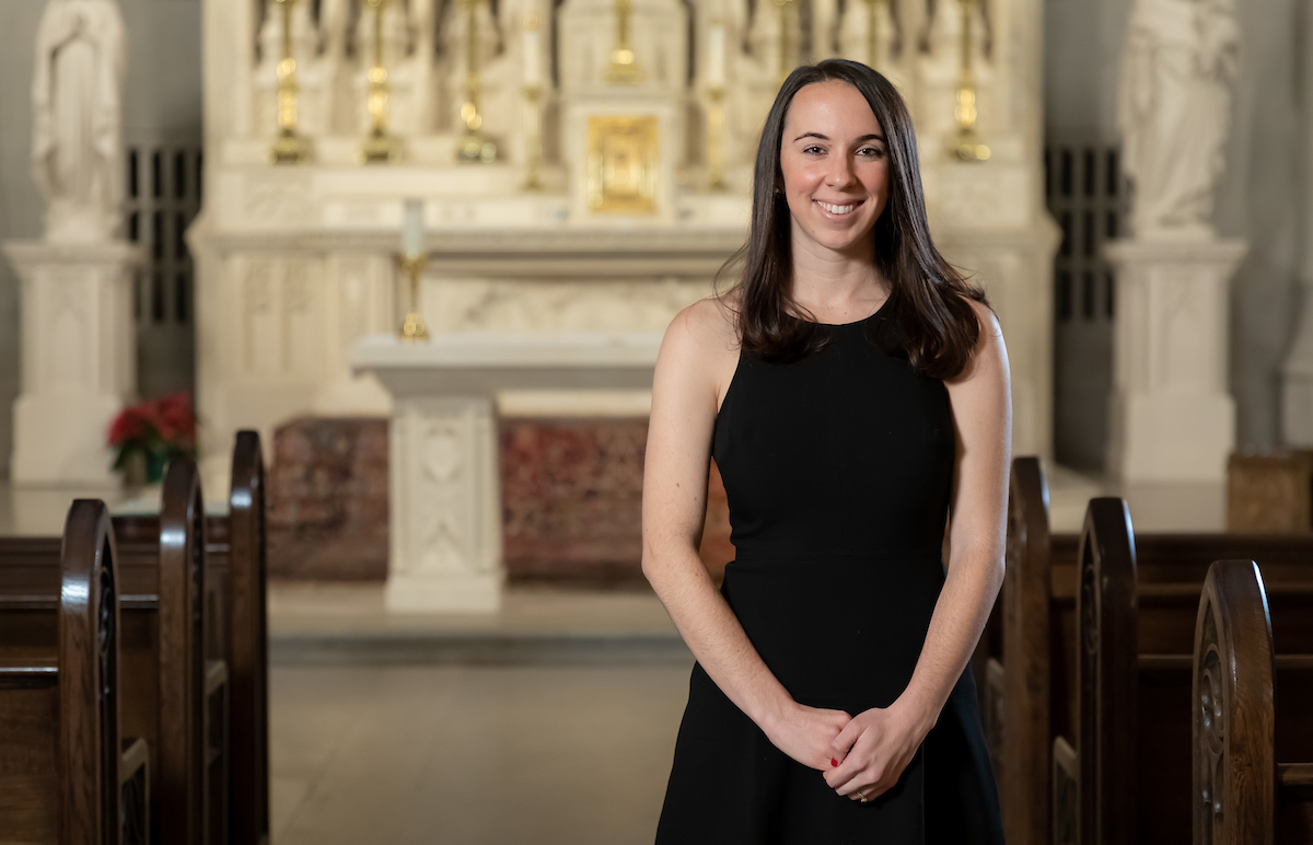 Jenna Rummelhart is a graduate student in the Kellstadt Graduate School of Business marketing program and also the senior communications coordinator for the Archdiocese of Chicago. (DePaul University/Jeff Carrion)