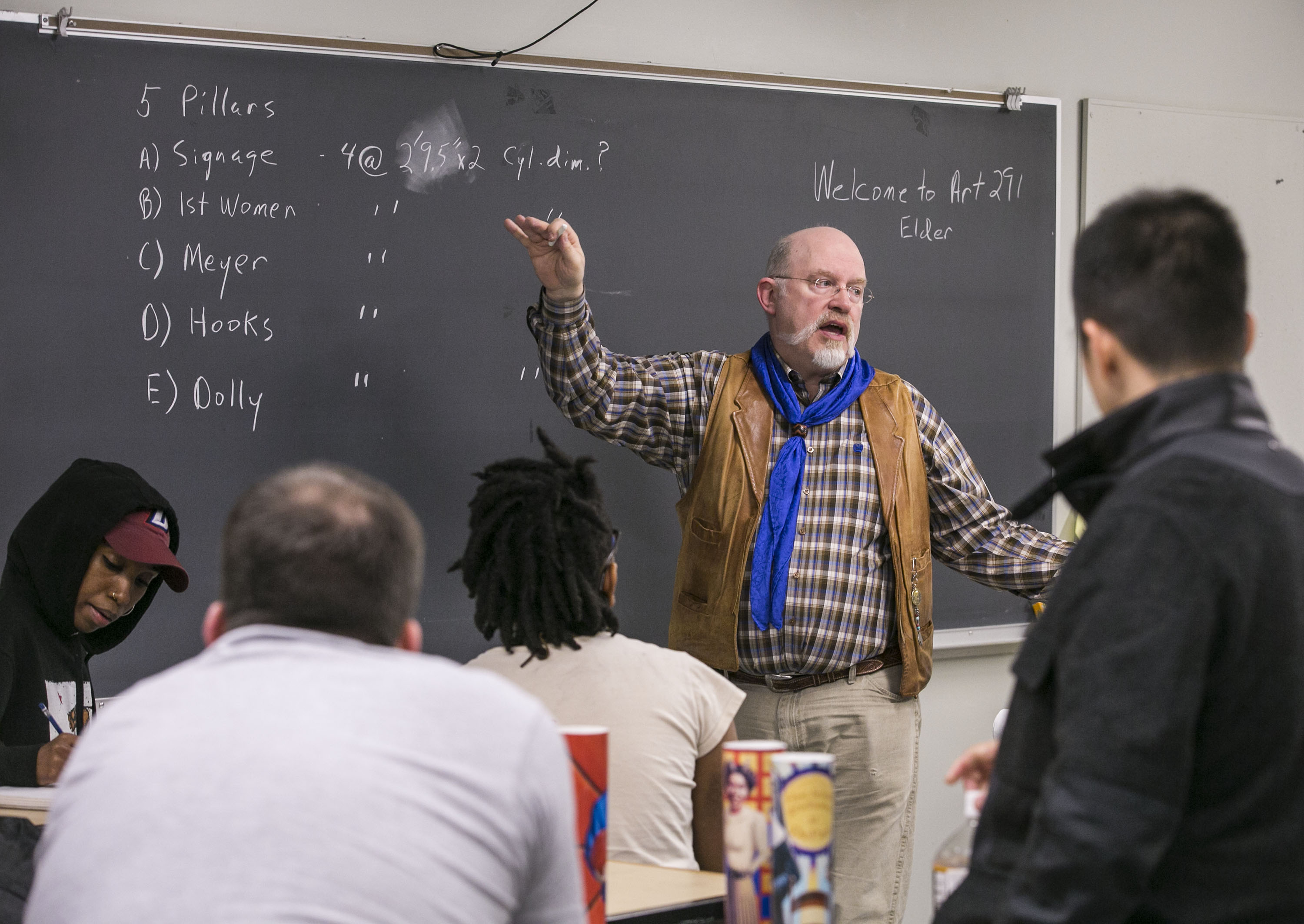 Brother Mark Elder, C.M., instructed DePaul University students on how to create and install public art. As part of their class, Elder and his students created and installed artwork depicting historical figures from DePaul's past. (DePaul University/Jamie Moncrief)