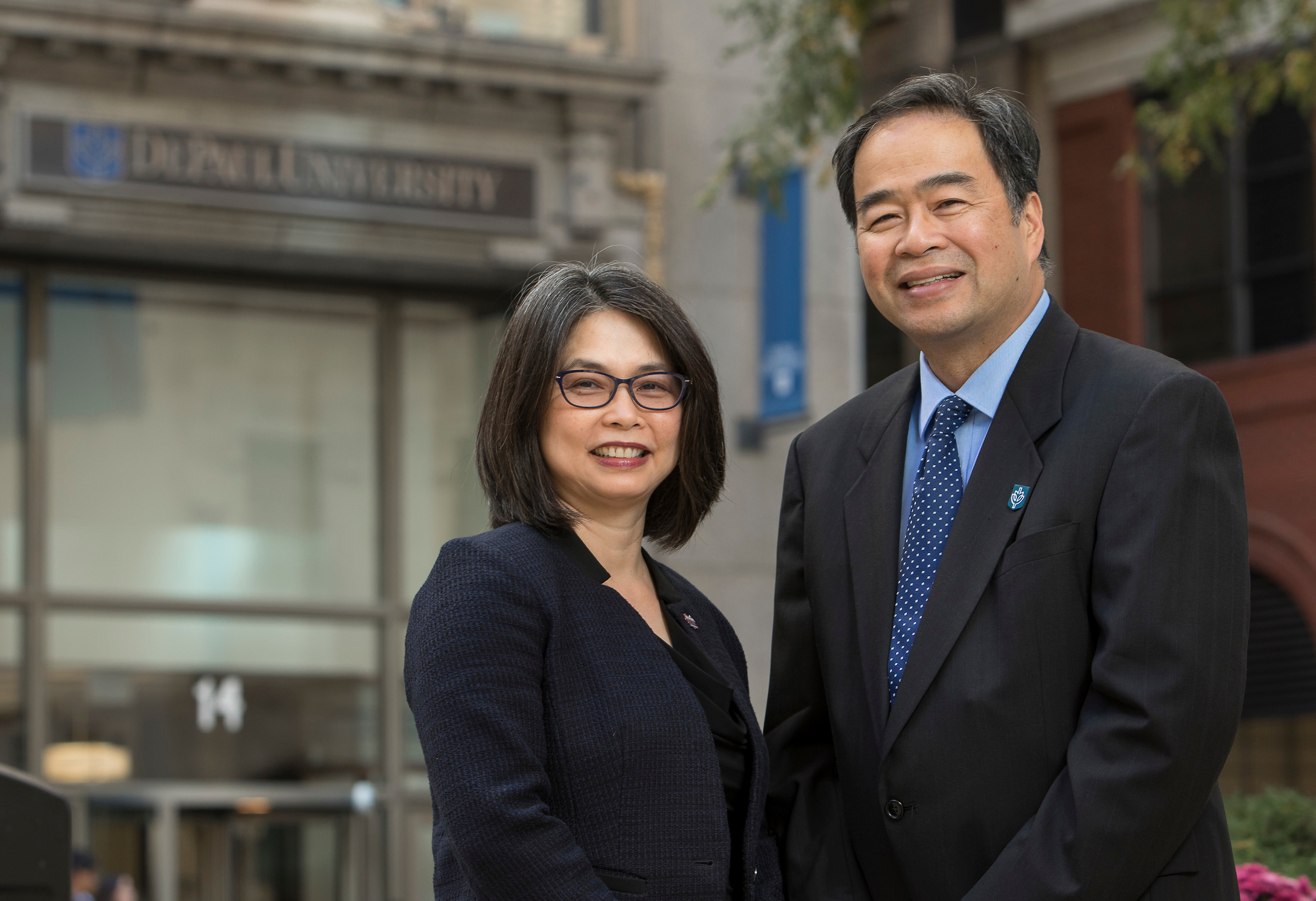 Portrait of A. Gabriel Esteban, Ph.D., president of DePaul University in Chicago, and his wife, Josephine.