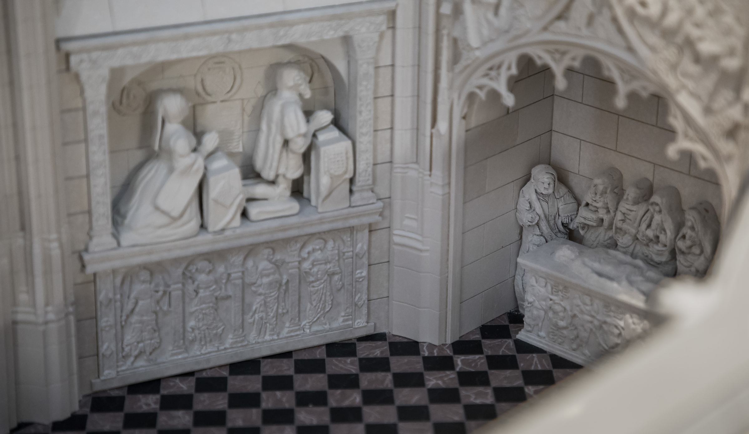 Detail of interior of Folleville church scale model
