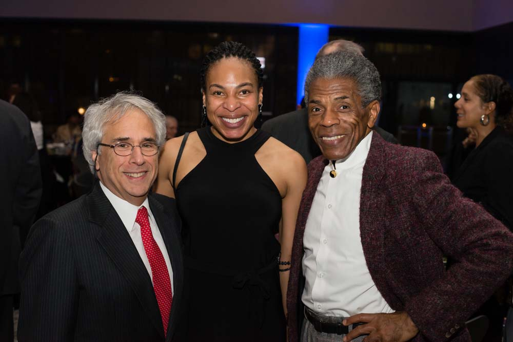 Lou Raizin, left, Karen Aldridge and André De Shields received a 2015 award for excellence in the arts presented Nov. 9 in Chicago by The Theatre School at DePaul University. (Photo by Brian McConkey Photography)