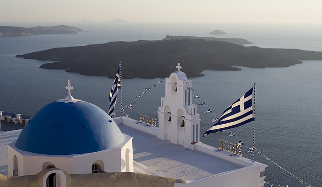 Greece flags in Santorini