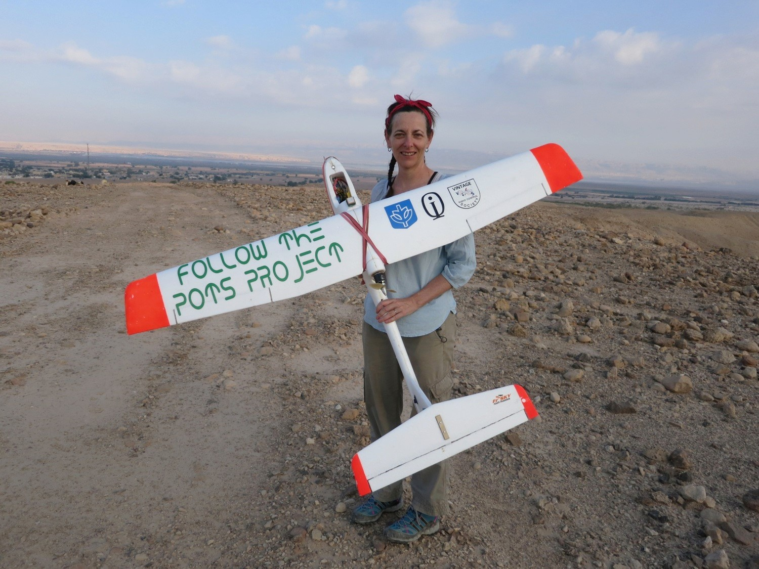 Morag M. Kersel with fixed wing drone