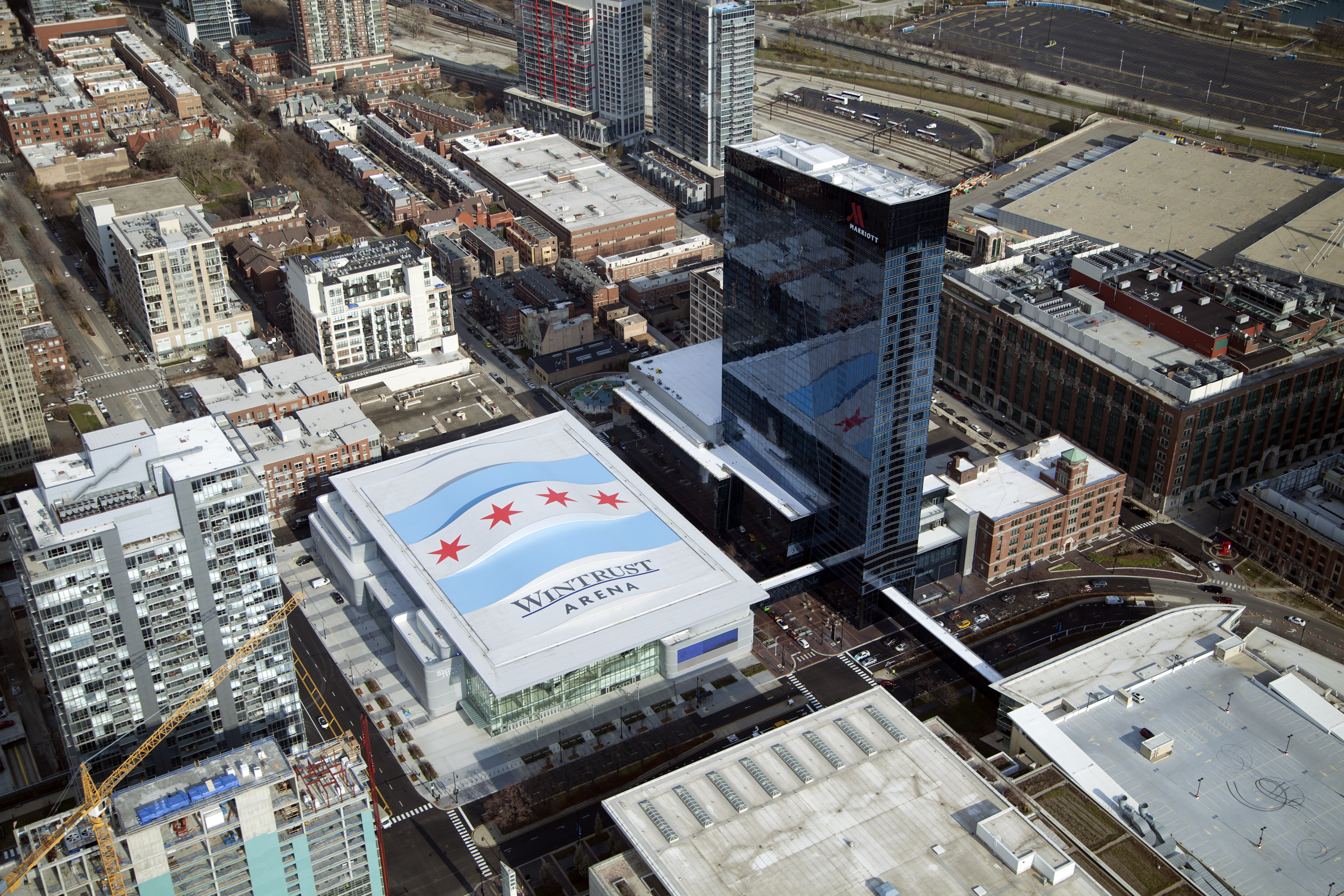 Wintrust Arena rooftop in Chicago South Loop neighborhood