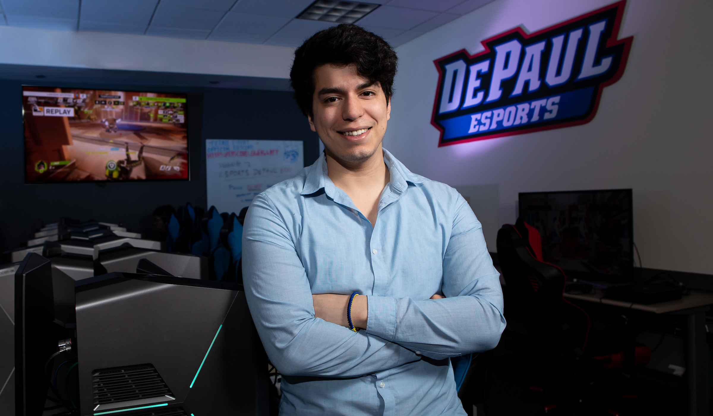 Portrait of Esteban Perez in DePaul Esports Gaming Center