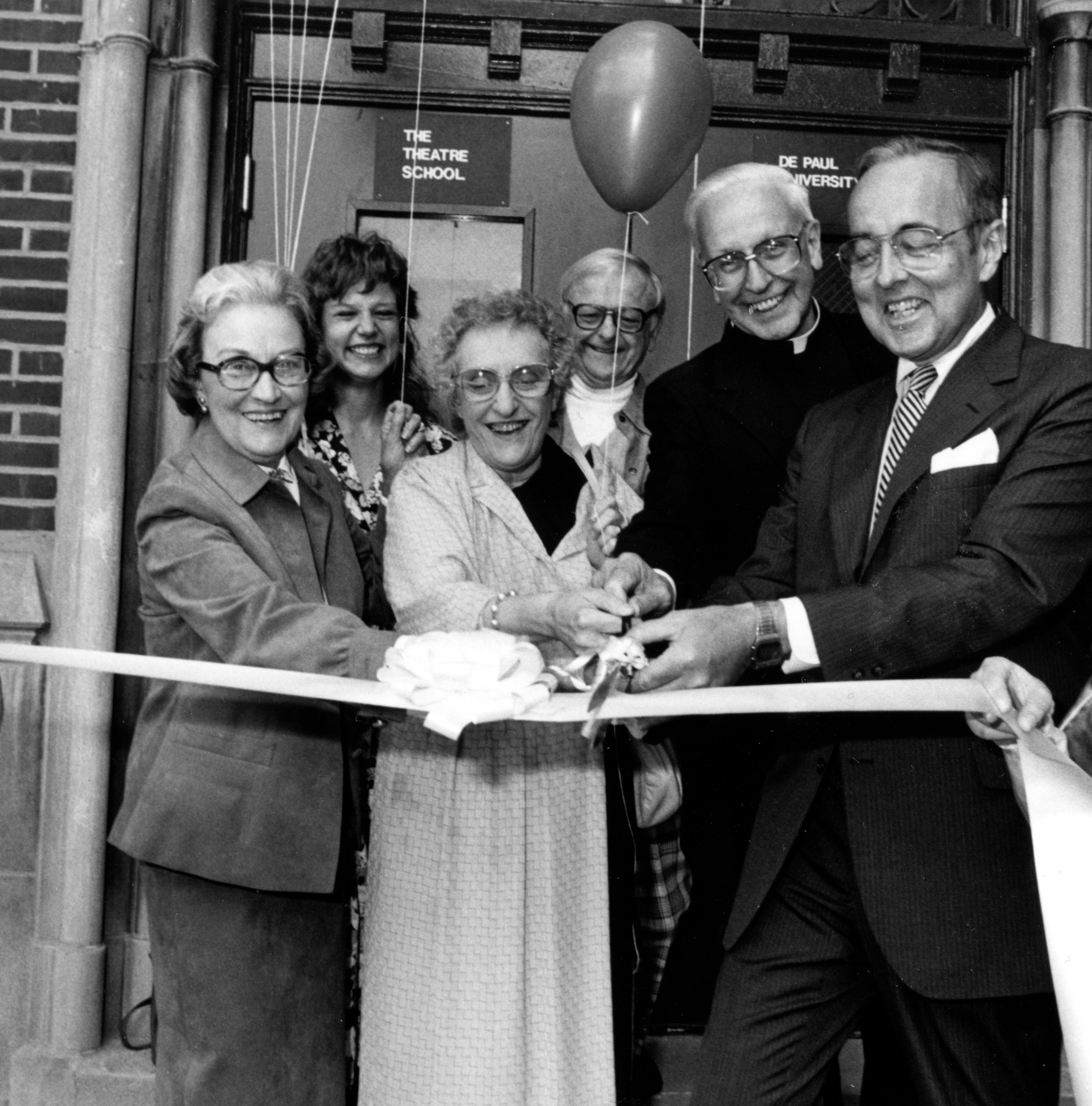 1986 ribbon cutting at The Theatre School at DePaul University