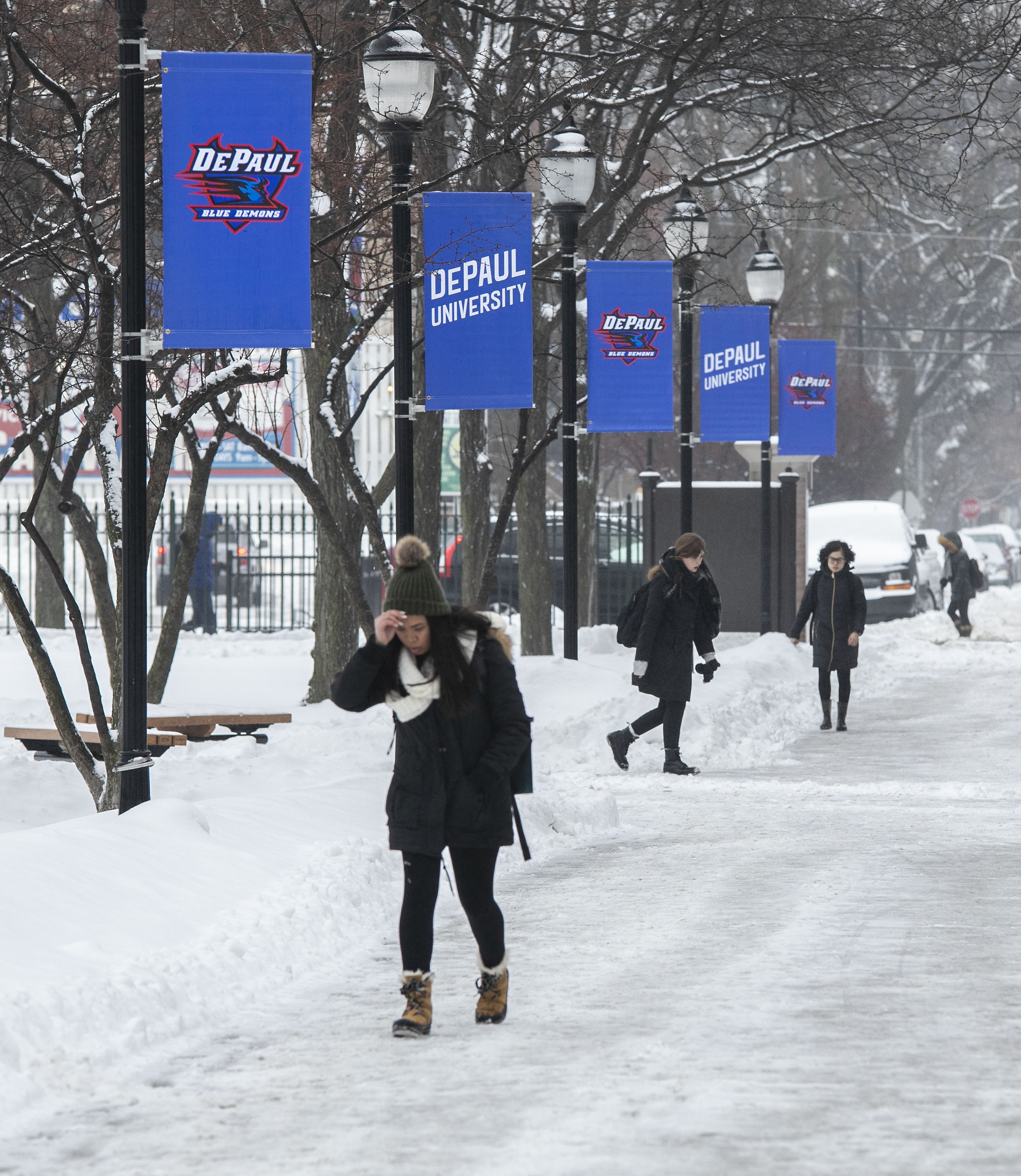 snow on DePaul campus