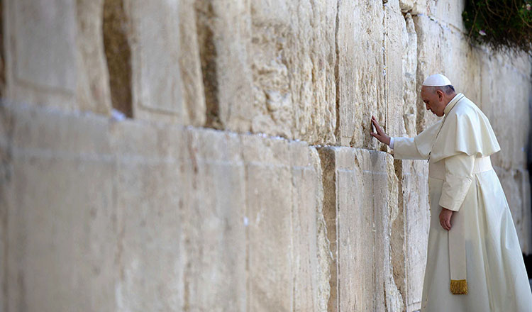 Pope Francis at the Western Wall in Israel