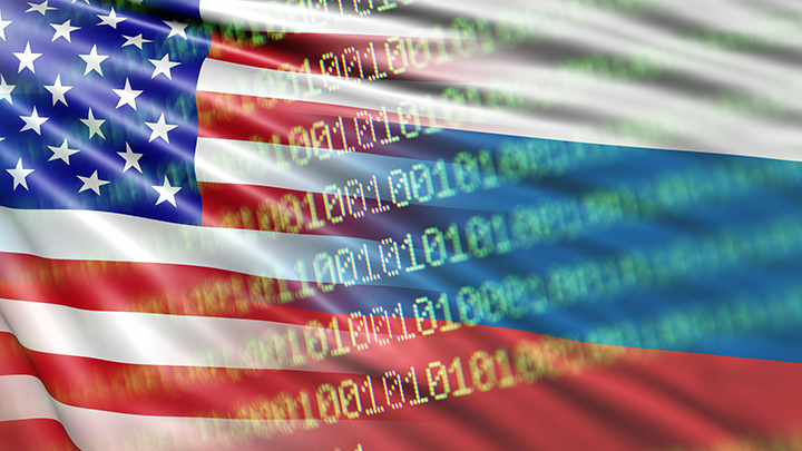flag with computer coding