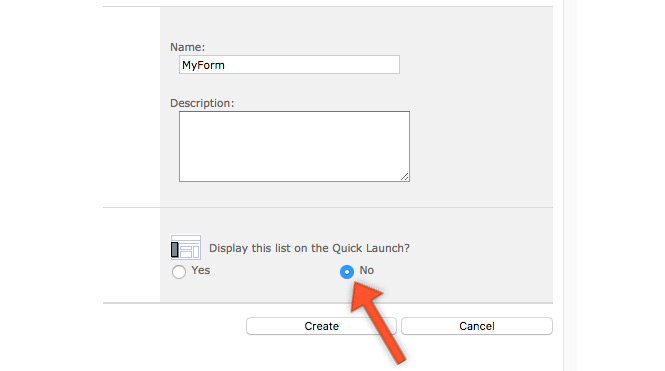 Select NO for Display on Quick Launch