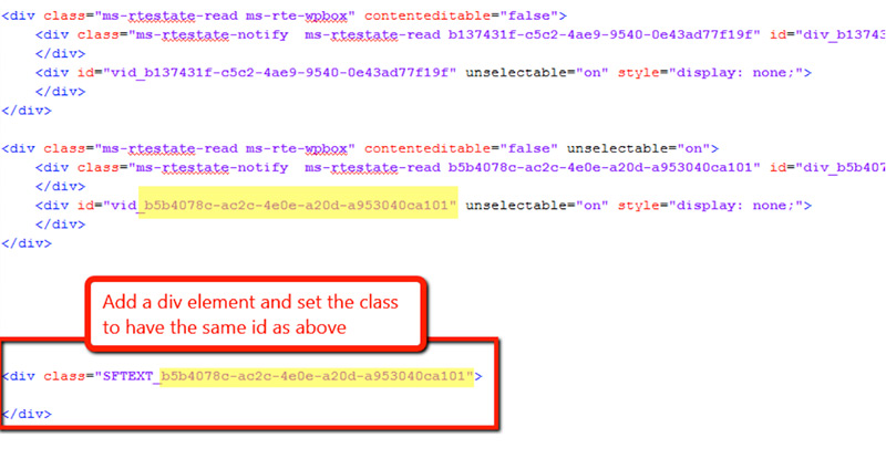 copy the div ID vid_ code into a new div class SFTEXT_