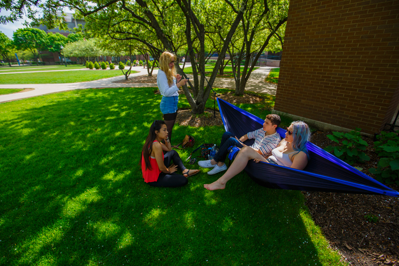 Students sitting outside in the quad
