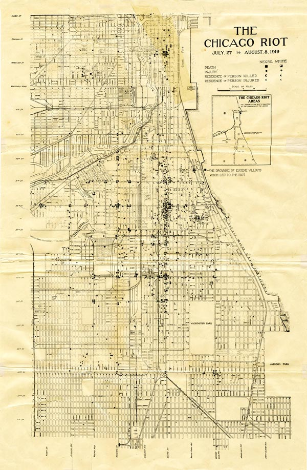 Map of the 1919 Chicago Riot