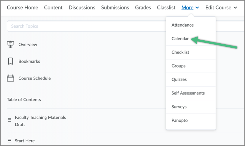 Viewing The Calendar Tool In D2l Course Home Tools
