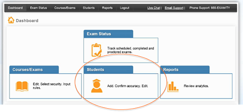 View of Examity dashboard with Students link highlighted