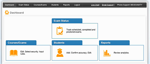 View of Examity dashboard showing Exam Status link highlighted