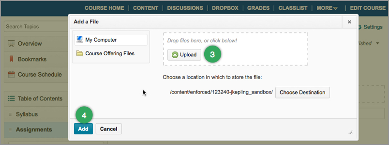 Add File pop-up window allow you to upload files to the Content area in D2L